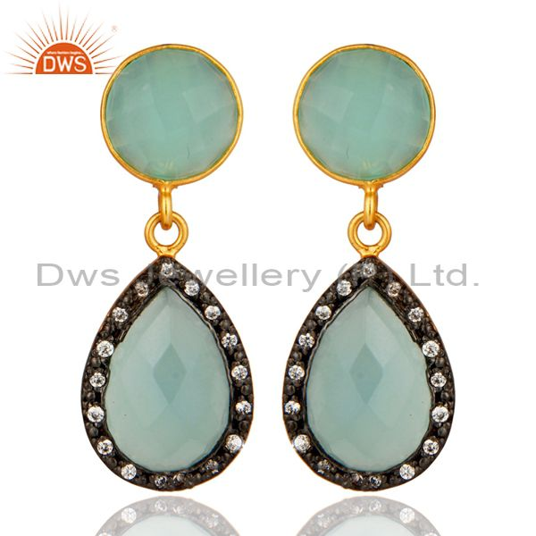 18K Gold Over Sterling Silver CZ And Blue Aqua Glass Gemstone Drop Earrings