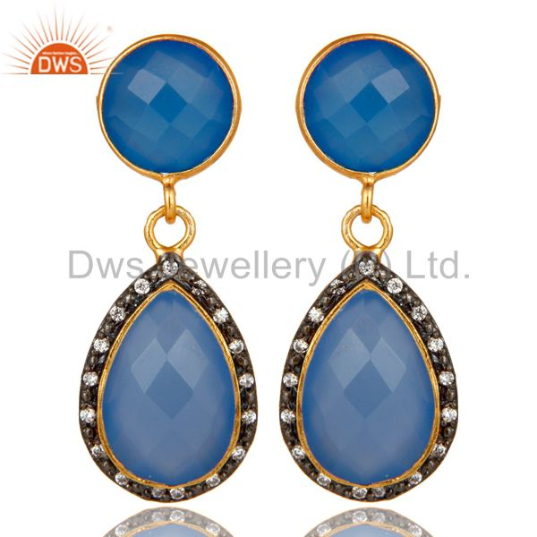 18K Yellow Gold Plated Sterling Silver Blue Chalcedony Drop Earrings With CZ