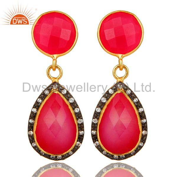 18K Yellow Gold Plated Sterling Silver Pink Chalcedony Drop Earrings With CZ