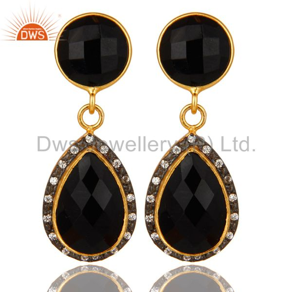 18K Yellow Gold Plated Sterling Silver Black Onyx Drop Earrings With CZ