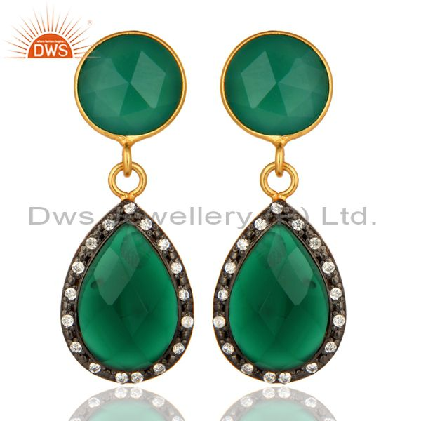 14K Gold-Plated Sterling Silver Green Onyx Gemstone Teardrop Earrings