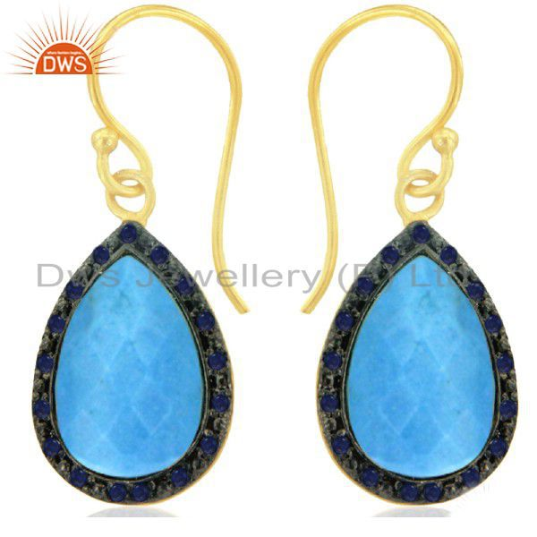 18K Yellow Gold Plated Sterling Silver Blue Sapphire And Turquoise Drop Earrings