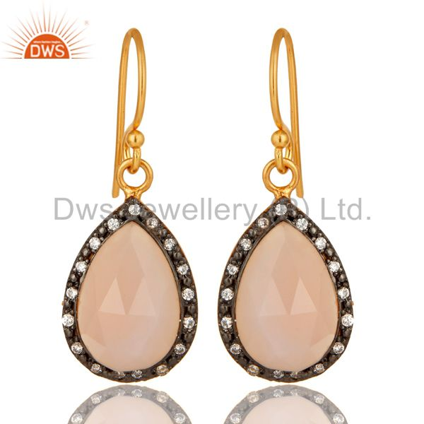 18K Yellow Gold Plated Sterling Silver Rose Chalcedony Drop Earrings With CZ