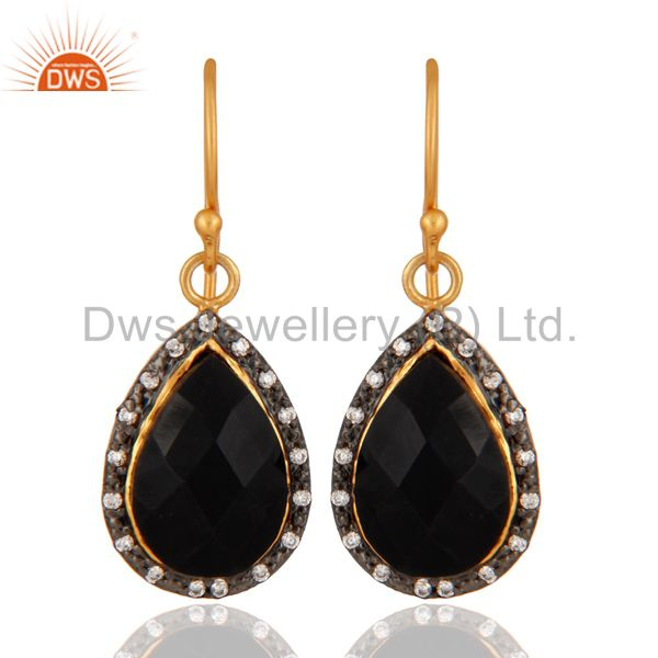 Gold Plated 925 Sterling Silver Faceted Black Onyx Gemstone Drop Earring With CZ