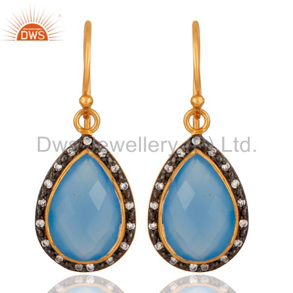 22K Gold Plated 925 Sterling Silver Aqua Chalcedony Gemstone Earring With CZ