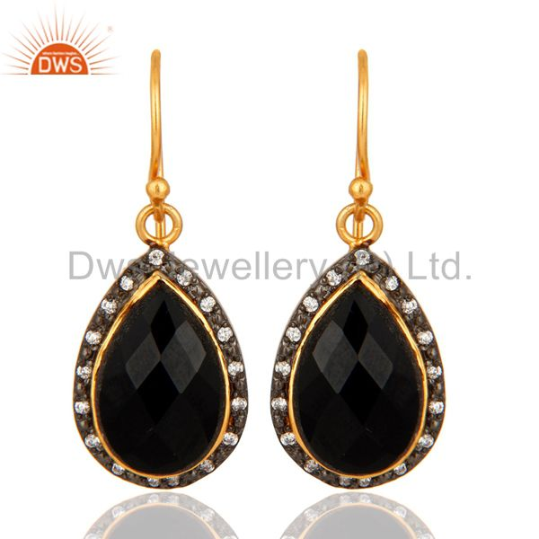 Black Onyx Gemstone Drop Earrings Made In Gold Plated On Sterling Silver