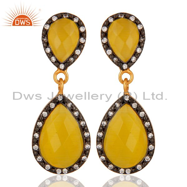 18K Yellow Gold Plated 925 Sterling Silver Yellow Moonstone Teardrop Earring