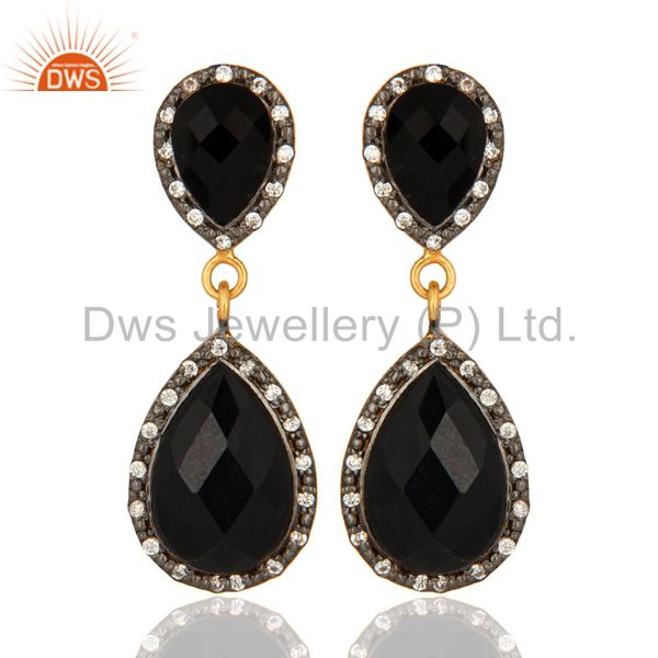 Natural Black Onyx Gemstone Drop Earrings With 18K Gold Over Sterling Silver