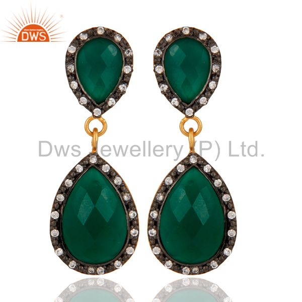 Solid 925 Sterling Silver Gold Plated Green Onyx Beautiful Drop Dangle Earring