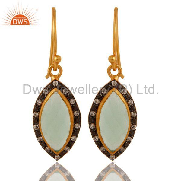 Dyed Aqua Blue Chalcedony Gold Plated Sterling Silver Dangle Earrings With CZ