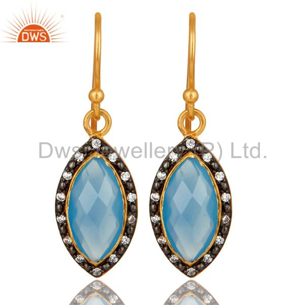 18K Yellow Gold Plated Sterling Silver Blue Chalcedony Dangle Earrings With CZ