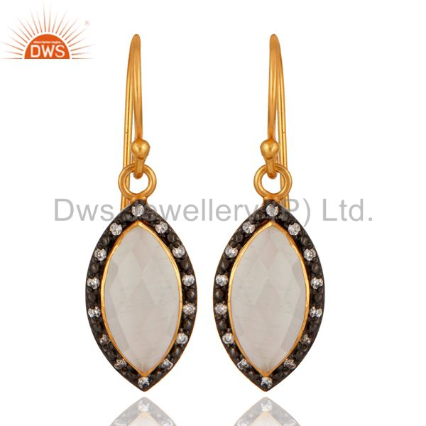 White Moonstone 22K Yellow Gold Plated Sterling Silver Dangle Earrings With CZ
