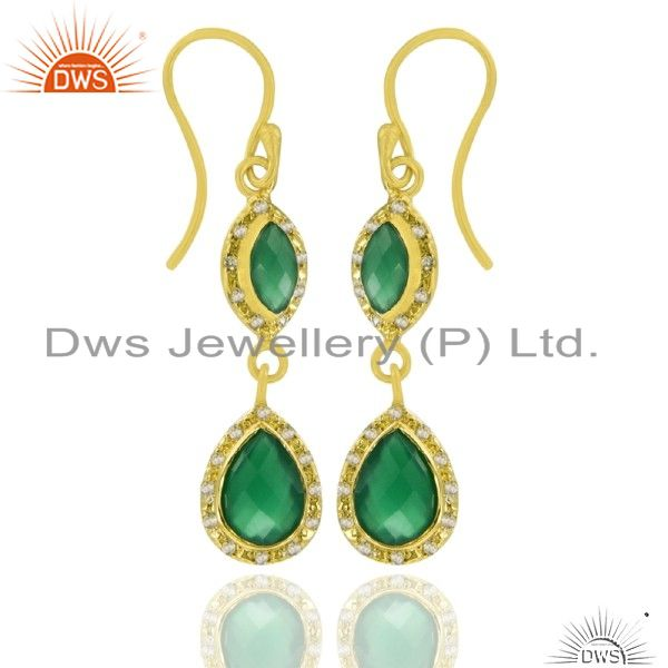 22K Gold Plated Sterling Silver Green Onyx And White Topaz Double Drop Earrings