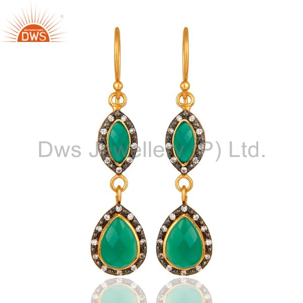 Green Onyx And White Zircon Dangle Earrings in 18K Gold Over Sterling Silver