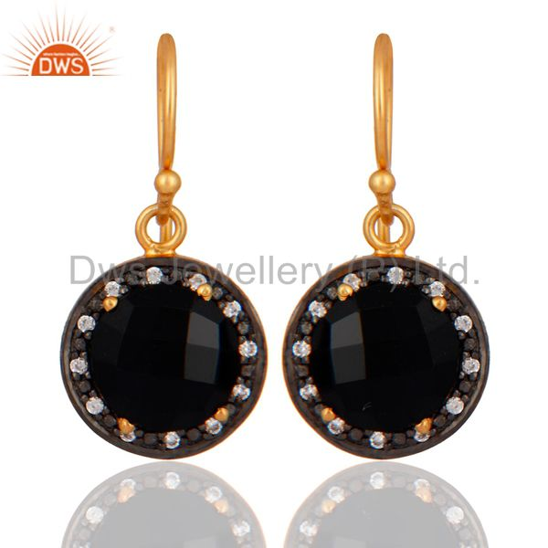 Prong Set Black Onyx And White Zircon Yellow Gold Plated Dangle Earrings
