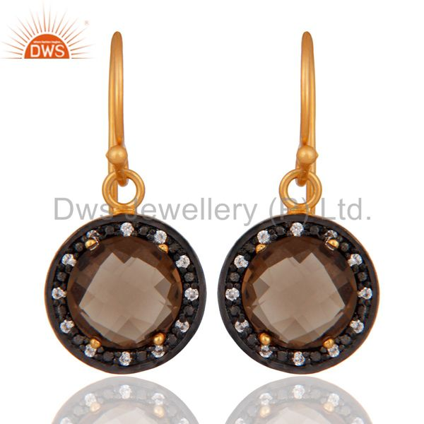 925 Sterling Silver Smoky Quartz Gemstone Earrings With 18K Gold Plated Jewelry