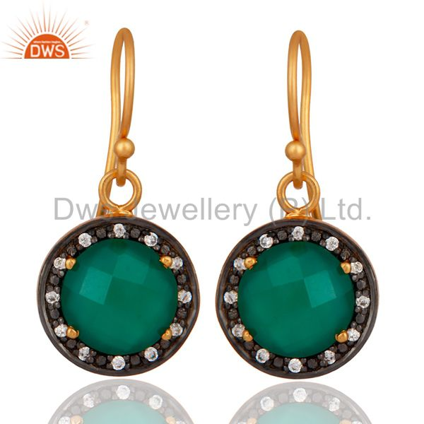 925 Sterling Silver Green Onyx 24K Yellow Gold Plated Earring With White Zircon