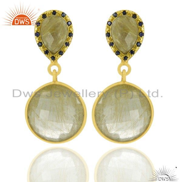 22K Gold Plated Sterling Silver Blue Sapphire And Rutilated Quartz Drop Earrings