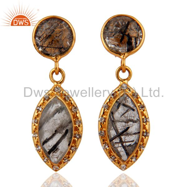 18K Gold Plated Tourmalated Quartz & White Topaz Drop Earrings Sterling Silver