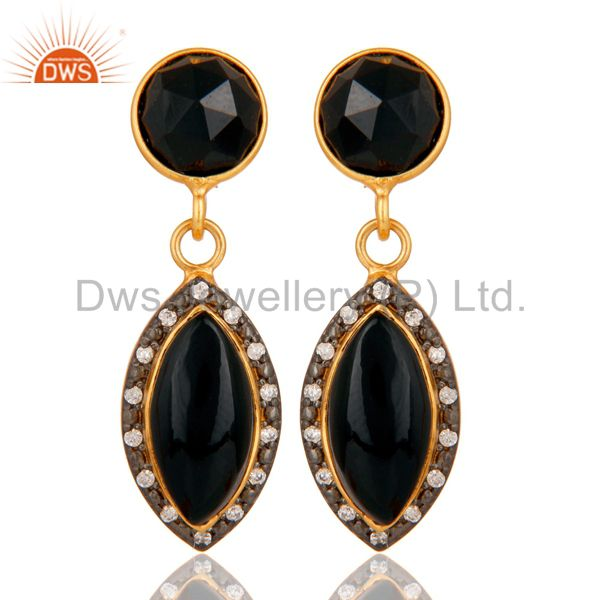 Natural Black Onyx Gold Plated 925 Solid Silver Dangle Earrings With White CZ