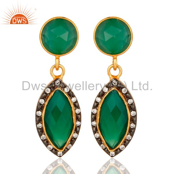 Natural Green Onyx Gold Plated 925 Solid Silver Dangle Earrings With CZ