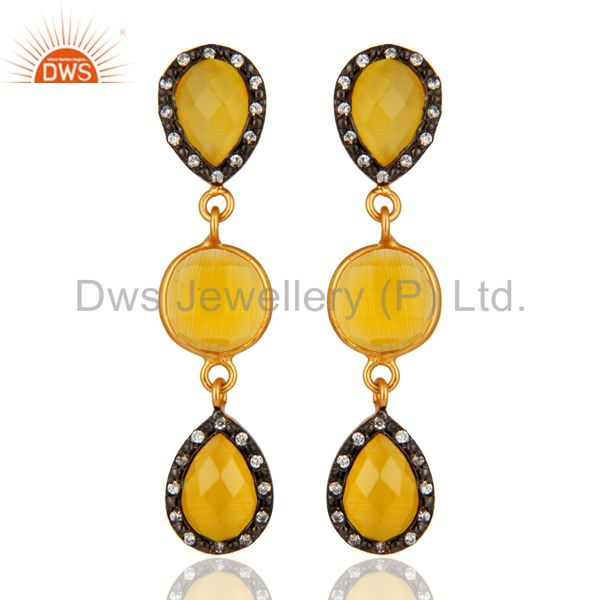 CZ & Yellow Moonstone Drop Earrings in 18-Carat Gold On Sterling Silver Jewelry