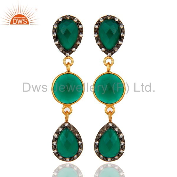 Natural Green Onyx 925 Sterling Silver Yellow Gold Plated CZ Dangle Earrings