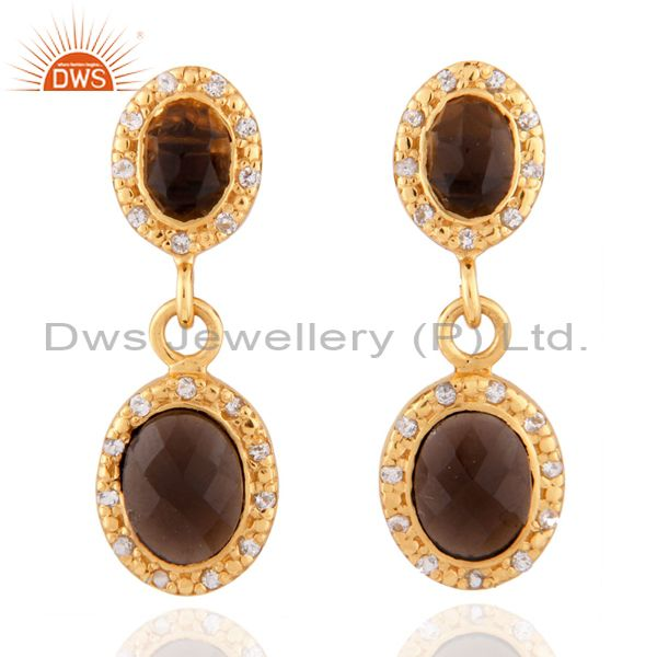 Natural Smoky Quartz 24k Gold Plated 925 Sterling Silver Zircon Dangle Earrings