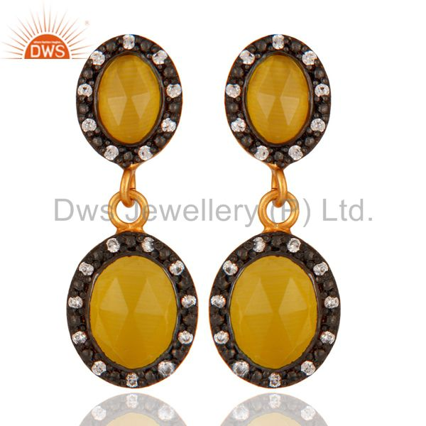 18K Yellow Gold Plated 925 Sterling Silver Natural Moonstone Designer Earring