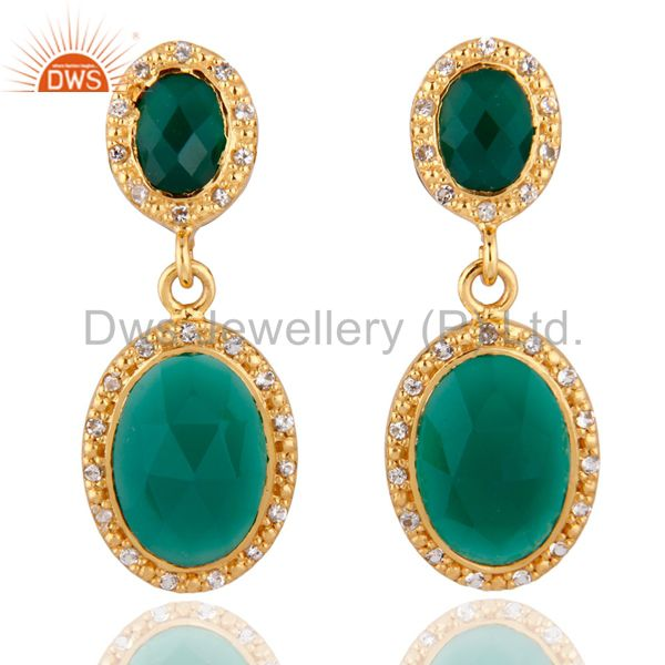 Gorgeous 18k Yellow Gold Over Sterling Silver Green Onyx Drop Earrings With CZ