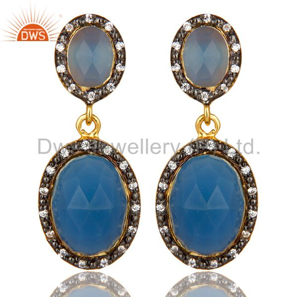 18K Yellow Gold Plated Sterling Silver Blue Chalcedony And CZ Dangle Earrings