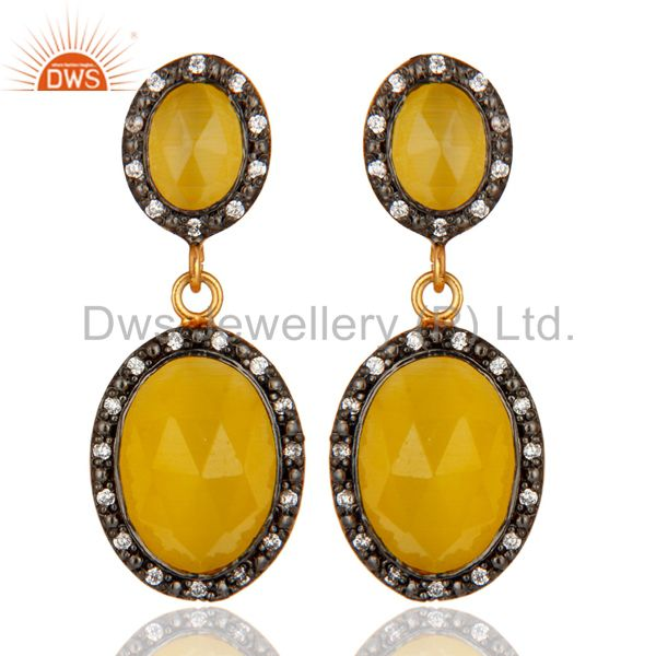 Classic Design Yellow Moonstone Gold Plated Sterling Silver Fashionable Earring