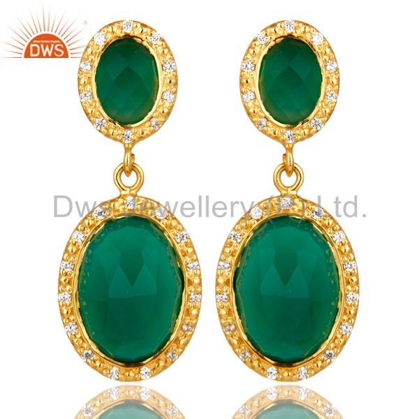 Shiny 18K Yellow Gold Plated Sterling Silver Green Onyx Drop Earrings With CZ