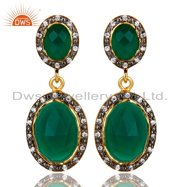 18K Yellow Gold Plated Sterling Silver Green Onyx And CZ Double Dangle Earrings