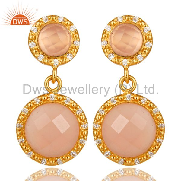 Shiny 18K Yellow Gold Plated Sterling Silver CZ And Rose Chalcedony Drop Earring