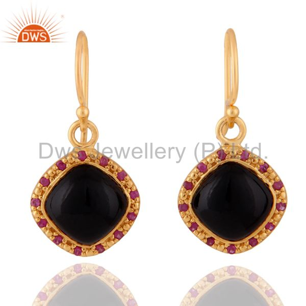18K Gold Plated Natural Black Onyx 925 Sterling Silver Ruby Gemstone Earrings