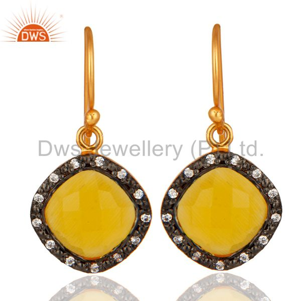 925 Sterling Silver With 18k Gold Plating Moonstone Cushion Shape Dangle Earring