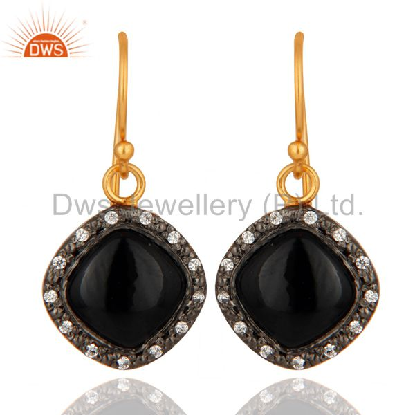 Natural Black Onyx Gemstone Hook Earrings Made In 24K Gold Over Sterling Silver