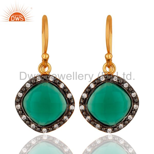 24K Gold Plated Over 925 Sterling Silver Green Onyx Gemstone Earring With CZ