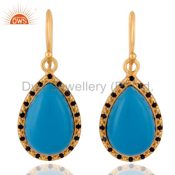 Blue sapphire Gemstone 18k Gold Plated Turquoise Sterling SIlver Earring