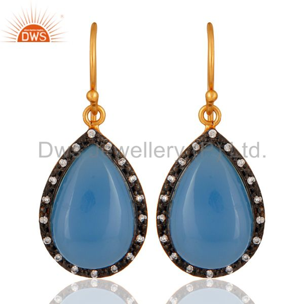 925 Sterling Silver Natural Blue Chalcedony Cabochon Gemstone Earrings With CZ