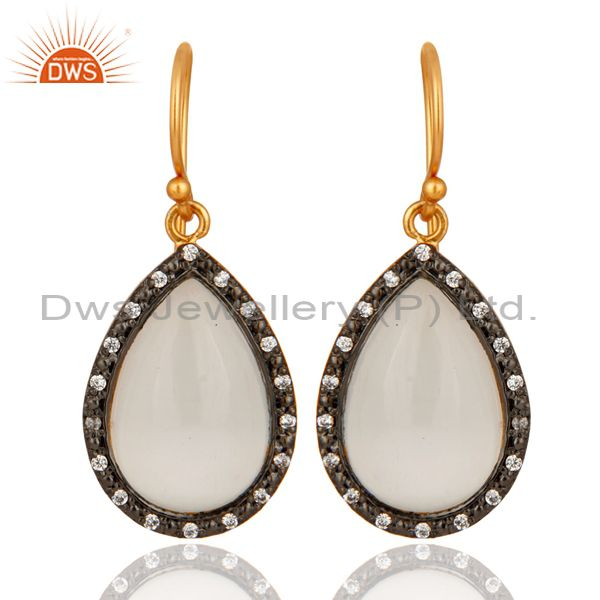 18K Yellow Gold Plated Sterling Silver White Moonstone & Cubic Zirconia Earrings