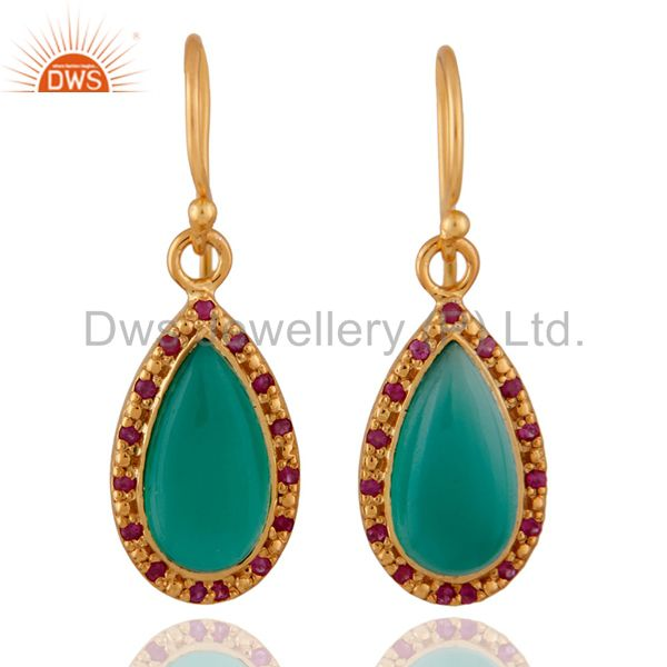 Gemstone Green Onyx 24K Yellow Gold Plated Sterling Silver Ruby Earrings