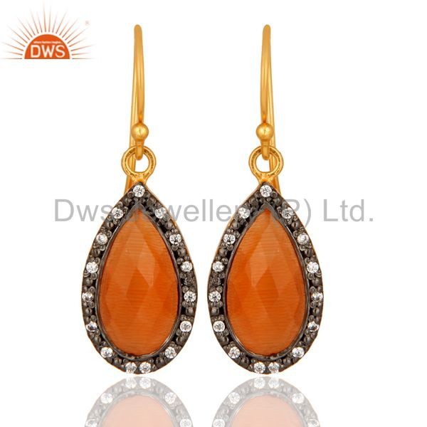 Faceted Peach Moonstone Teardrop Earrings With CZ In 18K Gold On Sterling Silver