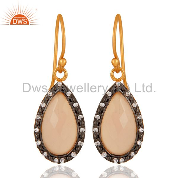 Natural Rose Chalcedony Drop Earrings Made In 24K Gold Plated Over 925 Silver
