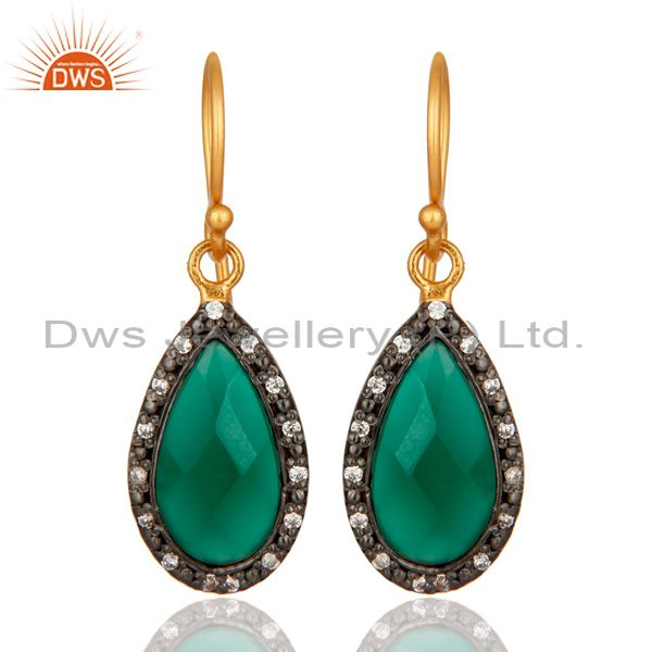 18K Gold Plated 925 Sterling Silver Green Onyx Gemstone Drop Earring With CZ