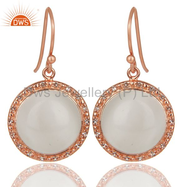 18K Rose Gold Plated 925 Sterling Silver Moonstone & White Topaz Drops Earrings