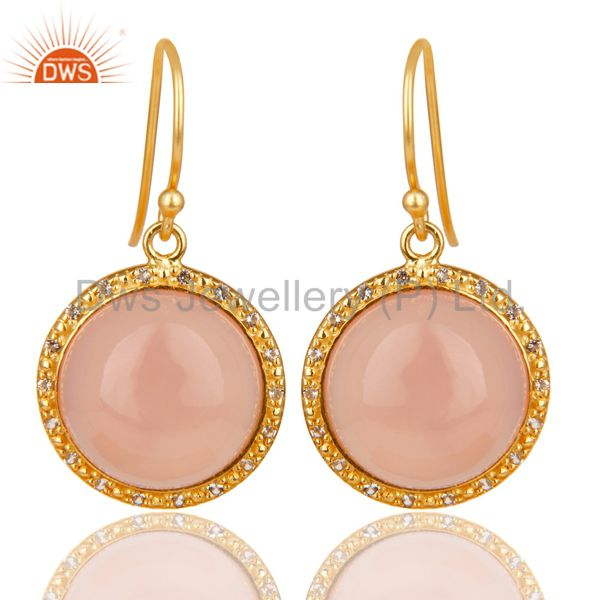 18K Gold Plated 925 Sterling Silver Dyed Chalcedony & White Topaz Drops Earring