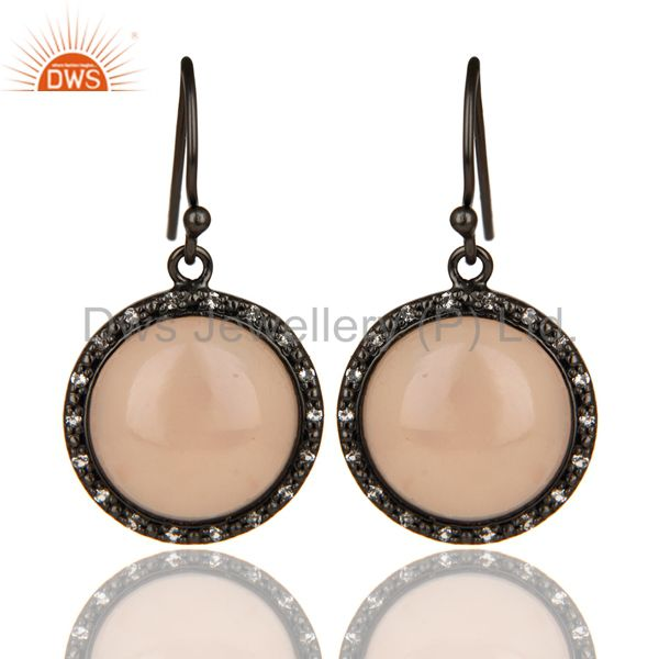 Black Oxidized 925 Sterling Silver Dyed Chalcedony & White Topaz Drops Earrings