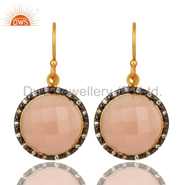 18K Yellow Gold Plated Sterling Silver Rose Chalcedony Dangle Earrings With CZ